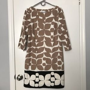 3/4 Sleeve Shift Dress Tan and Black